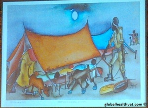 Ugandan artist's rendition of the Ebola outbreak presented at the conference.