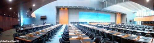 The hall at WTO where trade disputes are discussed
