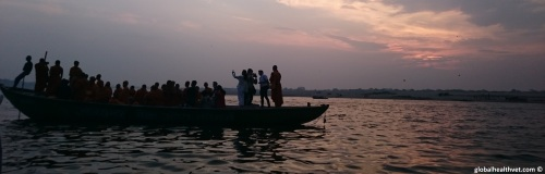 Sunset on the Ganges in beautiful Varanasi, India