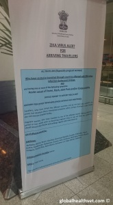 Zika warning at the Dehli aiport arrival terminal